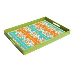 Tray with geometric floral motif.Product: TrayConstruction Material: PolypropyleneColor: Green