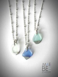 Beautiful tiny seaglass necklaces from JewelryByMaeBee on Etsy. www.jewelrybymaebee.etsy.com