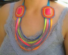 Neon colorful ribbon beaded statement necklace bib by LLiLLiRuas, $25.00