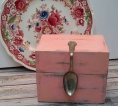 COTTAGE PINK Recipe Box with Vintage Spoon by Eweniques on Etsy