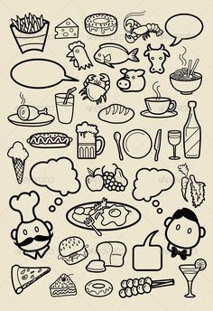 restaurant drawing drawings menu sketches food doodles hand icon icons easy doodle beverage background graphicriver draw sketch cafe illustration pizza