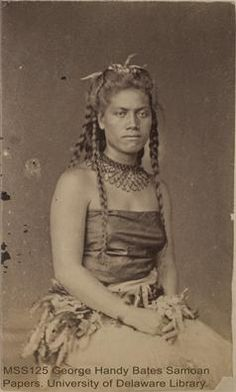 Samoan woman Faatulia, wife of Seumanutafa. UD Library: George Handy Bates Samoan Papers: Photographs