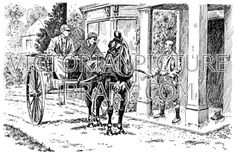 Gig. Victorian drawing of a light horse-drawn gig with driver and passenger drawing up at the porch of a house. Download high quality jpeg for just £5. Perfect for framing, logos, letterheads, and greetings cards.