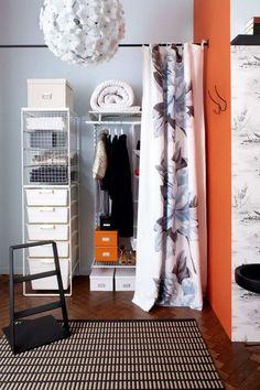 Open Wardrobe Storage Small Spaces 48 Ideas For 2019 Craft Storage Ideas For Small Spaces, Bedroom Storage For Small Rooms, Small Storage, Decorating Small Spaces, Decorating Ideas, Small Bedrooms, Open Wardrobe, Wardrobe Storage, Bedroom Wardrobe
