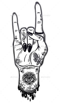 Buy Raised Inked Hand as a Rock and Roll Sign Gesture by itskatjas on GraphicRiver. Raised inked hand as a rock and roll or punk sign gesture with black nails. Rock And Roll Tattoo, Sketches, Tattoos, Hippie Art, Hand Tattoos, Art, Trippy Drawings, Rock Tattoo, Art Sketches