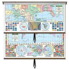 This is one of the most essential maps for classroom and business use. The United States and World Primary Combo Classroom wall map features updated, full-color cartography with political boundaries, capitals, major cities and more. Special features include flags of all 50 states, insets of Alaska and Hawaii, and shaded relief and satellite images of the United States.   #Globes #Education #geography #teaching #classroommaps #classroomglobes