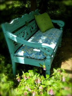 Turquoise garden bench- front yard under maple tree. nice color