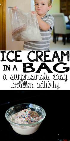 Making Ice Cream in a Sandwich Bag - Busy Toddler - - An easy toddler activity making ice cream in a sandwich bag. It's the easiest toddler activity that ends with eating ice cream. Doesn't get much better! Nanny Activities, Babysitting Activities, Babysitting Fun, Hands On Activities, Preschool Activities, Camping Activities, At Home Toddler Activities, Toddler Learning, Baby Activites