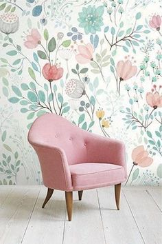 wallpaper living room Wallpaper Ideas for the Living Room pastel flowers print Stunning Wallpapers, Floral Wallpapers, Amazing Wallpaper, Vintage Wallpapers, Unique Wallpaper, Living Room Decor, Bedroom Decor, Pastel Living Room, Bedroom Apartment