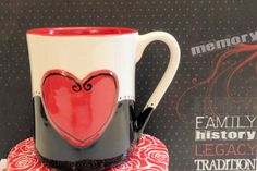 This ceramic coffee mug is one you won't want to give away! Then again, it does make a perfect gift for someone special. Celebrate Valentine's Day, Mother's Day, Father's Day or every day with this coffee cup personalized FREE of charge.  $20.00 at www.etsy.com/shop/beautifullypractical
