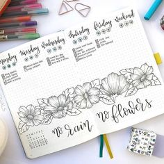 Here's a completed bullet journal weekly log. I drew some flowers and added a short quote to fill up the page. Notebook used was Scribbles That Matter. #bulletjournal #bulletjournalideas