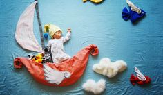 *Baby in flying Boat Ship Photo. Creative Mom Turns Her Baby's Naptime Into Dream Adventures Photography Newborn Baby Photography, Newborn Photos, Children Photography, Photography Ideas, Creative Photography, Photography Series, Funny Photography, Portrait Photography, Baby Pictures