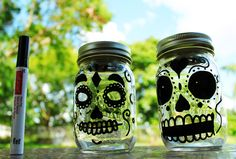 Day of the Dead glow in the dark lanterns made with mason jars.