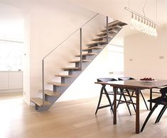 painted steel, stainless steel and oak staircase UK Interior S, Interior And Exterior, Rose Arbor, Furniture Making, Stairs, Contemporary, Staircases, Stainless Steel, London