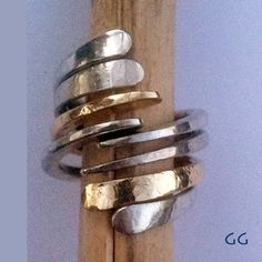 RING Sterling Silver and Gold Modern Hammered Forged by GGoriginal, $108.00