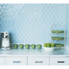 blue shiny kitchen tile | Colors for a bright kitchen, egg blue tiles, apple green accents ...