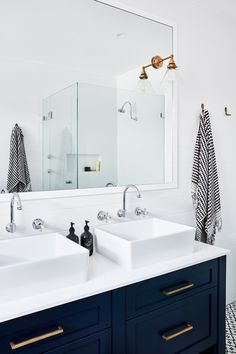 Dark blue bathroom vanity with double square vessel sink + brass hardware and polished nickel faucets Dark Blue Bathrooms, Blue Vanity, Master Bathroom Vanity, Bathroom Faucets, Concrete Bathroom, Master Bathrooms, Bathroom Cabinets, Small Double Sink Vanity, Double Sink Bathroom