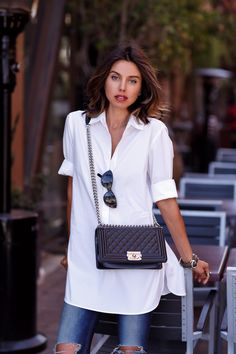 VivaLuxury - Fashion Blog by Annabelle Fleur: SIMPLE GEOMETRY - RAG & BONE The Skinny jeans | BANANA REPUBLIC soft-wash poplin tunic | CHANEL Boy flap bag in perforated leather | PAUL ANDREW Zenadia high heel pump | GILLIAN JULIUS multi tube bracelets May 17, 2015