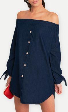 Dark Blue Wash Chambray Bardot Swing Dress