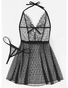 409d1fcfd8   4.19  Women s Sexy Babydoll   Slips   Lace Lingerie   Robes Nightwear -  Mesh