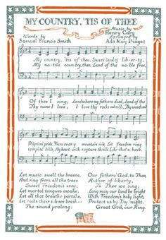 My Country Tis of Thee Patriotic Images, Patriotic Crafts, Piano Music, Sheet Music, Music Sheets, Piano Sheet, I Love America, God Bless America, Independance Day