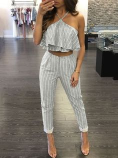 Grey Striped Ruffle Top and Pant Set Cute Summer Outfits, Classy Outfits, Stylish Outfits, Teenage Girl Outfits, Looks Chic, Mode Hijab, Two Piece Outfit, Western Outfits, Types Of Fashion Styles