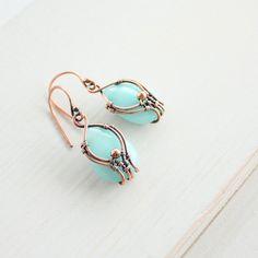 Copper earrings with aquamarine   Copper di wirefoxjewellery, $38.00