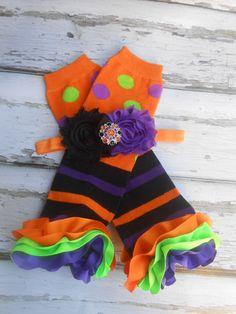 Halloween stripes and dots ribbon ruffle leg Warmers and shabby flower headband orange black lime green purple