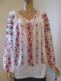 Hand embroidered Romanian folk blouse / red and by RealRomania