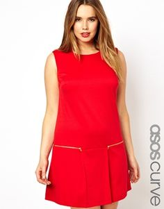 ASOS CURVE Shift Dress With Zip Detail
