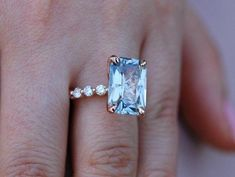 GIA certified Blake Lively ring Rose Gold Engagement Ring Blue sapphire engagement ring One of a kind ring Sapphire Emerald by EidelPrecious on Etsy Blake Lively Ring, Blake Lively Engagement Ring, Rose Gold Engagement Ring, Halo Engagement, Morganite Engagement, Morganite Ring, Solitaire Diamond, Oval Diamond, Diamond Rings