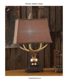 Classic Antler Lamp, brown tapered boxed shade. a classic finish to this well composed piece. Masculine gift, decorating, lodge, high country