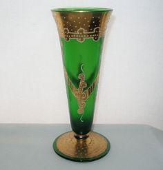 ESPECIALLY Gorgeous JUGENDSTIL Art Nouveau VASE Bohemian HAND PAINTED GOLD Glass