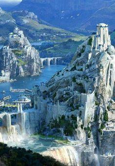 League of Legends digital lore art - Scenery Fantasy City, Fantasy Castle, Fantasy Places, High Fantasy, Medieval Fantasy, Fantasy World, Fantasy Art Landscapes, Fantasy Landscape, City Landscape
