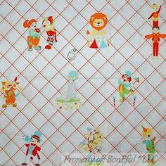 1950 S Vtg Indian Head Cotton Nursery Fabric Circus Animals Yellow Red 44 W Bty Clown Pinterest And Fabrics