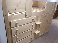 4 Drawer cabin bed in natural pine with a lacquered finish. Aspenn work solely in solid natural woods (no mdf!) so we can guarantee our furniture structurally for 20 years. All our cabin beds are designed by customers to create the perfect addition to their childs bedroom. Visit www.aspennfurniture.co.uk today and you can design your perfect cabin bed, we'll email you a full quote back within the day. If you'd like to discuss call us on 01937 843386 or ianaspenn@btinternet.com Childrens Cabin Beds, Full Quote, Uk Today, Childs Bedroom, Your Perfect, Can Design, 20 Years, Natural Wood, Pine