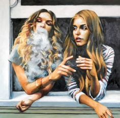 "Saatchi Art Artist Thomas Saliot; Painting, ""A joint at the window"" #art"
