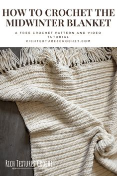 Crochet Afghans The clean lines and subtle texture give this throw blanket a modern look. It's so warm and cozy! - Welcome to Rich Textures Crochet! This free crochet pattern for the Midwinter Blanket is sure to make the coldest winter nights more cozy! Crochet Afghans, Afghan Crochet Patterns, Crochet Stitches, Knit Crochet, Blanket Crochet, Modern Crochet Patterns, Baby Afghans, Beginner Crochet Pattern Free, Chunky Crochet Blankets