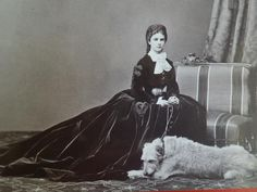 1867 - Elisabeth of Austria with her Wolfhound 'Shadow', 1869. - Photography by von Rabending