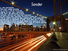 Sonder (n.) - Dictionary of Obscure Sorrows