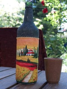 Bastelanleitung Flasche in Serviettentechnik