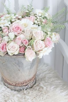 Zinc and Spring Flowers - a rusty zinc bucket filled with a bouquet of pink and white roses, daisies and mums - via Vibeke Design Amazing Flowers, Beautiful Roses, Beautiful Flowers, Pretty Roses, Romantic Roses, Deco Floral, Arte Floral, Floral Design, Pink Roses