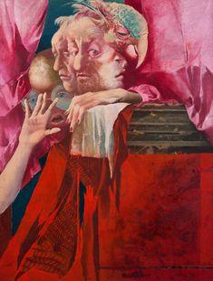 Jaroslava Pešicová - Parrot Hunt (oil on canvas, Surrealism, Parrot, Oil On Canvas, Illustration, Painting, Stone, Sculptures, Painting Art, Kunst