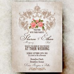 Vintage Wedding Invitation - Shabby Chic  Invitation, Printable wedding Invitation, Rustic Wedding Invitation