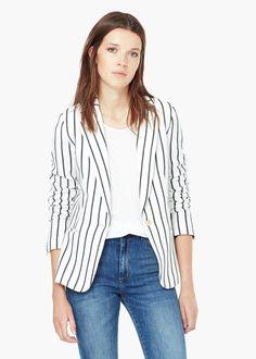 Striped blazer - Jackets for Women | MANGO