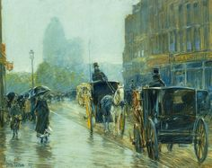Horse Drawn Cabs at Evening, New York, Childe Hassam