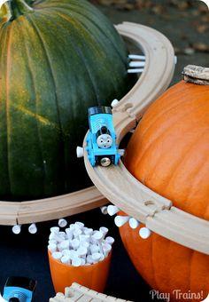 Pumpkin Mountain Railroad Building -- Halloween Train Activity - Play Trains!