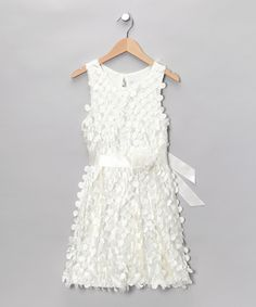 Maybe with a gray sash? White & Ivory Sash Dress - Girls