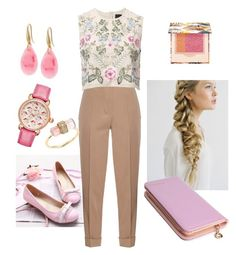 """""""Pink Blooms"""" by joyfulsqrrrl ❤ liked on Polyvore featuring Pastel Pairs, Bottega Veneta, Needle & Thread, Michele, Jacquie Aiche, GUESS, Paul & Joe, Spring, cute and Pink"""