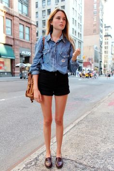 Shop this look on Lookastic:  http://lookastic.com/women/looks/blue-denim-shirt-black-shorts-dark-brown-loafers-tan-bucket-bag/11036  — Blue Denim Shirt  — Tan Leather Bucket Bag  — Black Denim Shorts  — Dark Brown Leather Loafers
